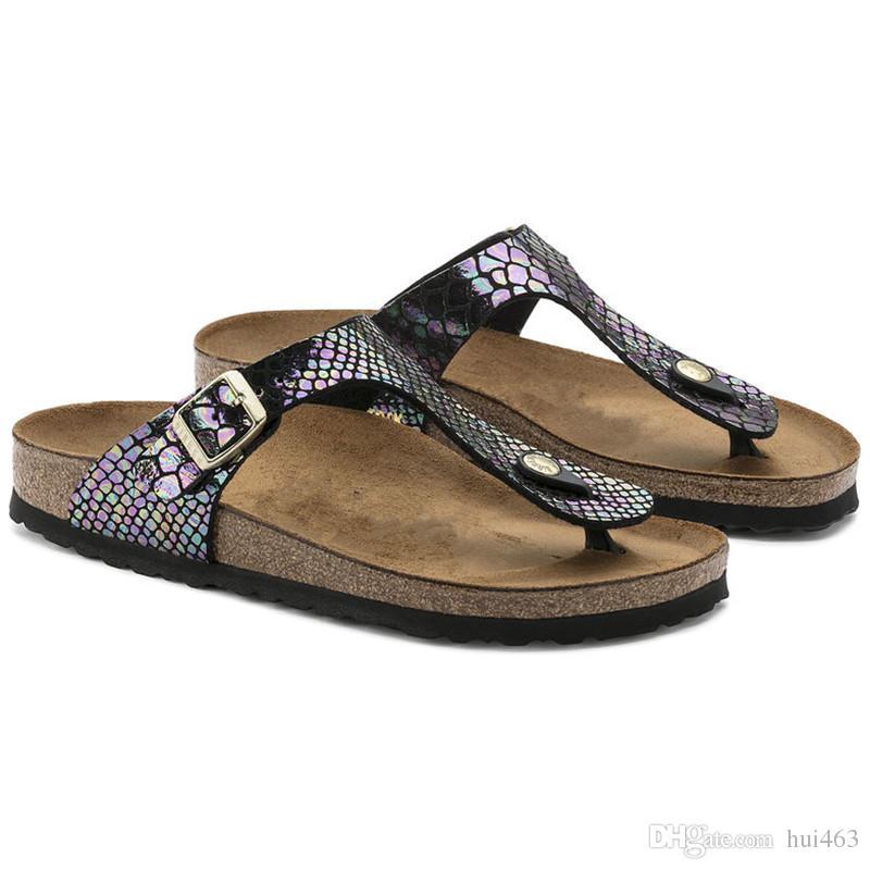 c340b2a334e Famous Brand Arizona With Orignal Brand Logo Male Woman Flat Sandals Casual Flip  Flops Single Buckle Summer Beach Genuine Leather Slippers Girls Sandals ...