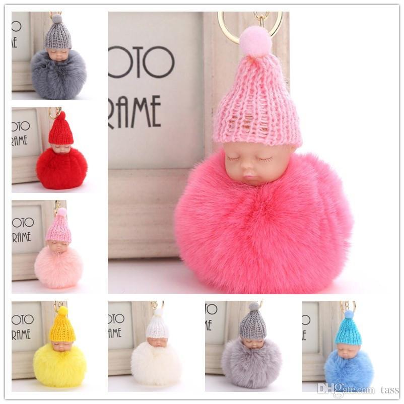 Sweet Fluffy Pompom Sleeping Baby Key Chain Knitted Hat Baby Doll Keychain  Car Keyring Toy Trendy Gifts Custom Keychain Leather Lanyard From Tass 7cfbb9f9ba27