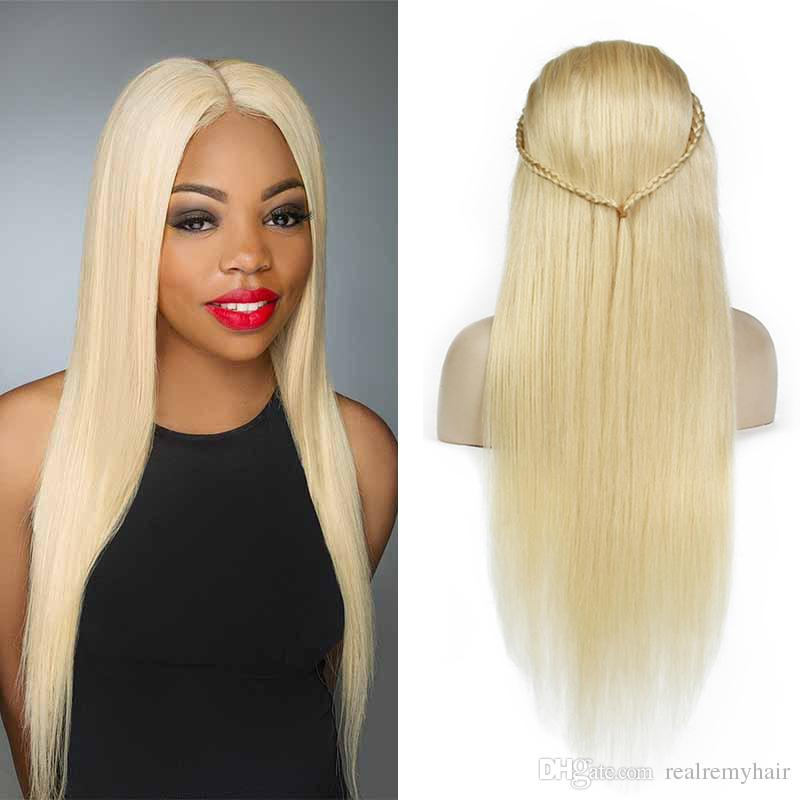 Platinum Blonde Human Hair Wigs Brazilian Glueless Lace Front Wigs