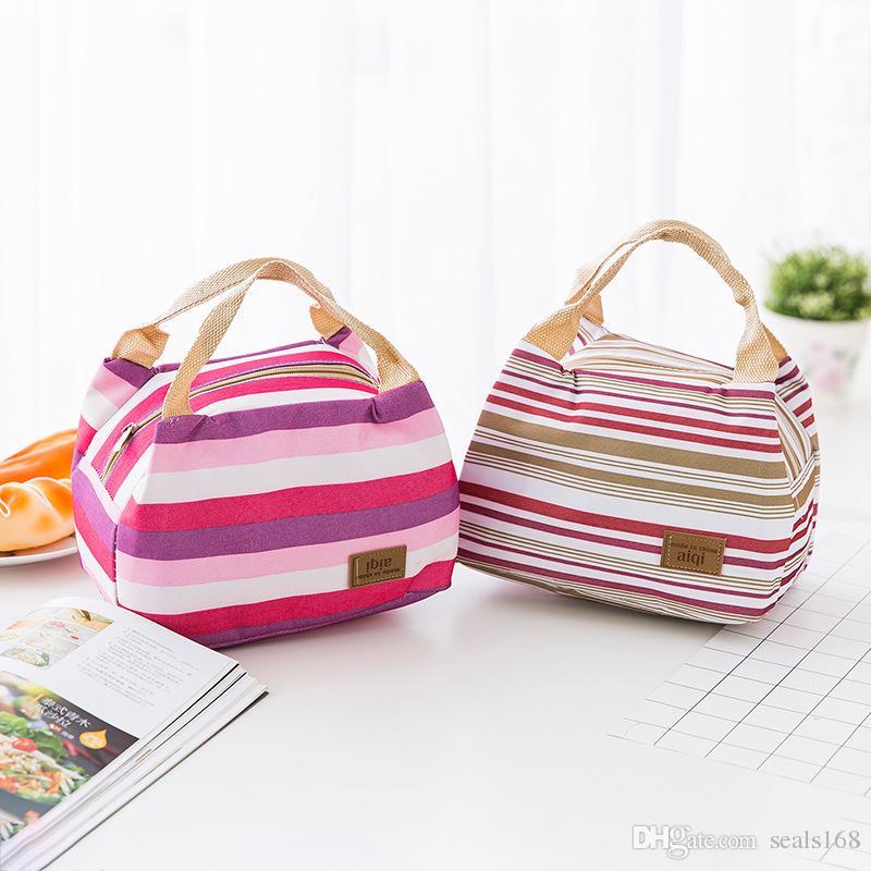 14 تصميم حقيبة الغداء حمل حقيبة الغداء المنظم مقبض العزل الباردة نزهة الغذاء تخزين مربع قماش مربع الحرارية يمكن جعل fba HH7-459