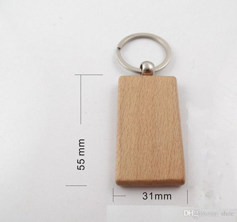 Epackfree customize DIY Blank Wooden Key Chain Rectangle Heart Round Ellipse Carving Key ring Wood Key Chain Ring