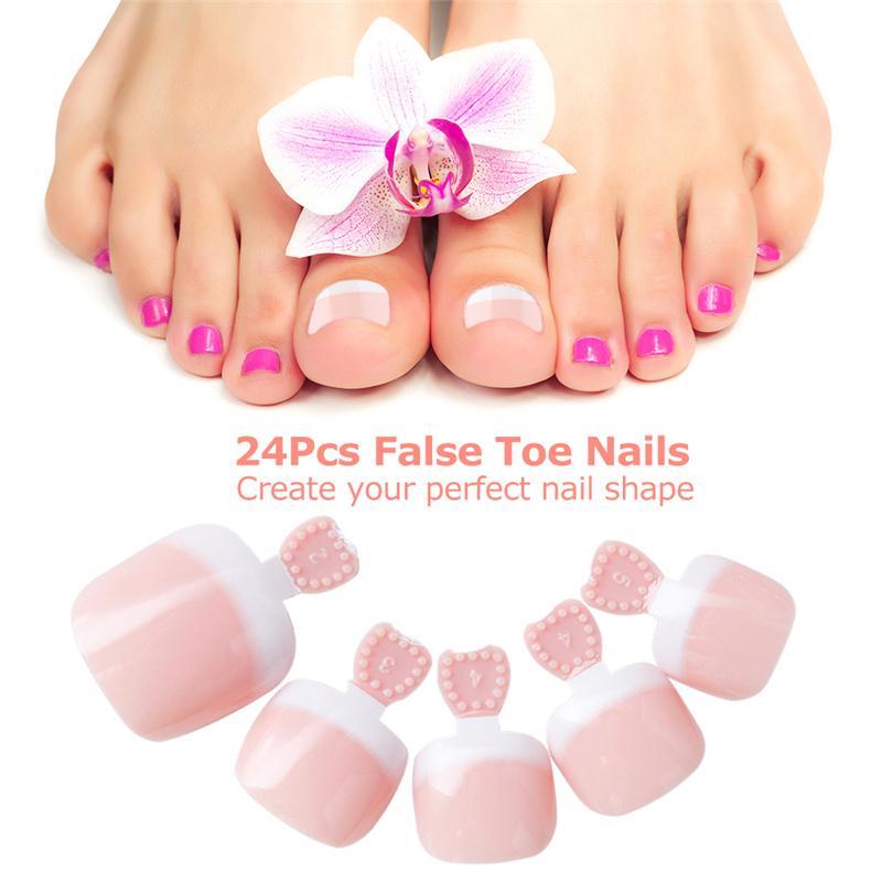 Foot False Toenail Tips Set French Full Cover Fake Toe Nail Tips ...