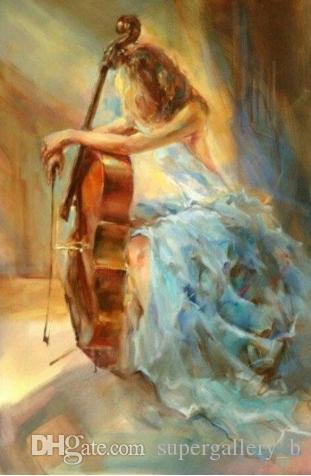 Handpainted & HD Art Print beautiful Impressionist Girl with her violin Oil Painting On High Quality Canvas Home Wall Decor Multi Size Js719