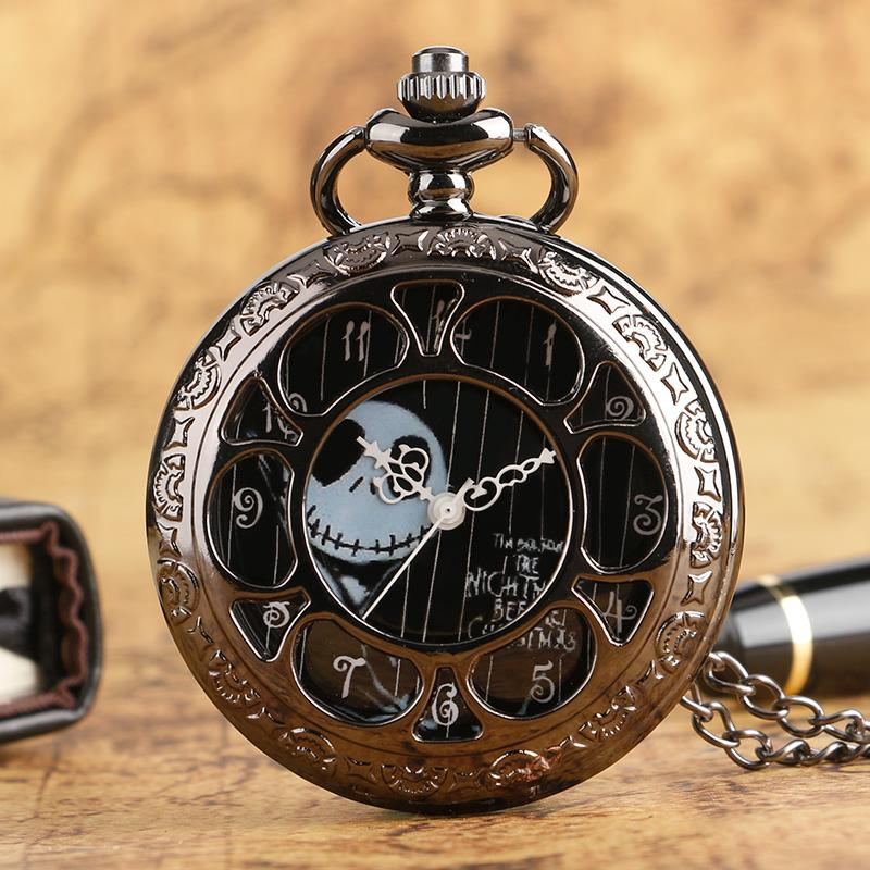 retro vintage tim burtons the nightmare before christmas pocket watch necklace black dial hollow flower quartz movement clock watch necklace pocket watch - Nightmare Before Christmas Watch Online