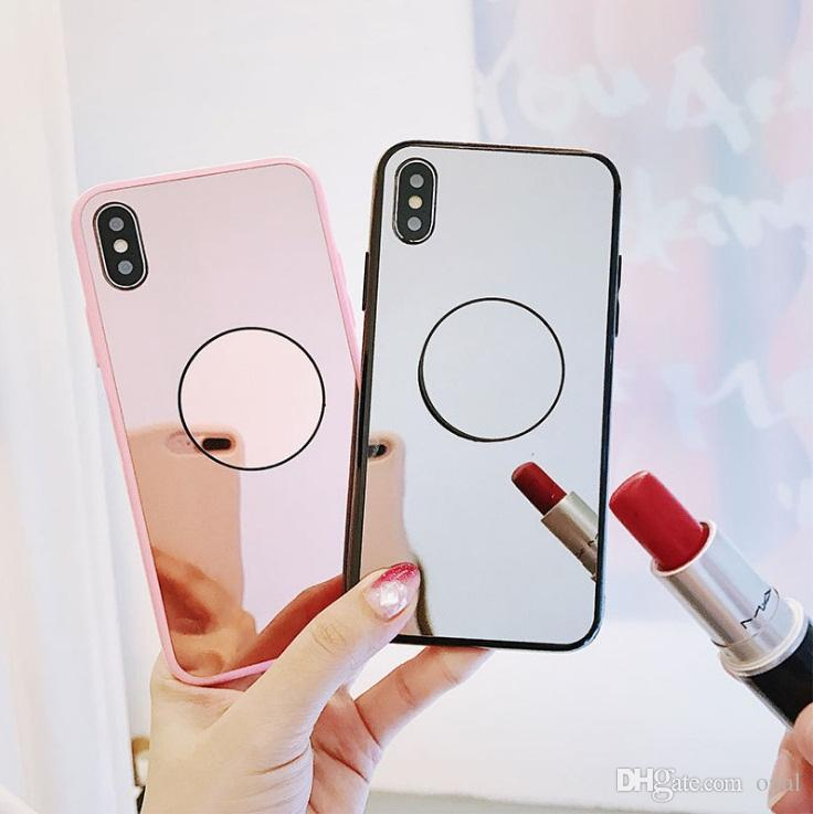 on sale 90f8e 89b76 New For iPhone XR XS MAX cases High Quality mirror glass with stand Cover  For 8 6 7 Plus