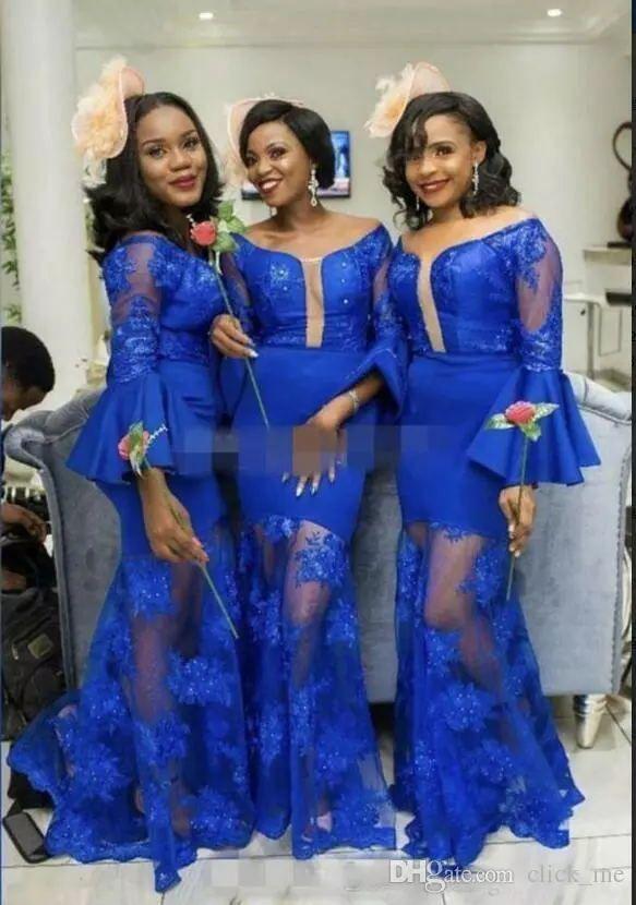 20246c7affb Royal Blue Mermaid Bridesmaid Dresses Saudi Arabic Long Sleeves Scoop Wedding  Guest Gowns See Through Sexy Maid Of Honor Dress Bridesmaid Dresses  Adelaide ...