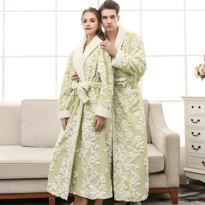 e40d987e45fb 2019 Lovers Winter Long Flower Flannel Thick Bathrobe Women Men Coral Fleece  Kimono Bathrobe Print Women Men Robes Dressing Gown From Lucycloth