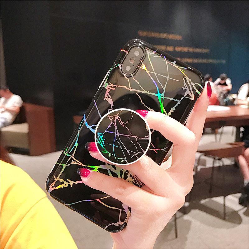 Bling Laser Shining Marble Iridescent Holographic Holo Soft TPU Grip Stand Custodia iPhone X 8 7 6 6S Samsung S8 S9 Plus Nota 9 Nota9