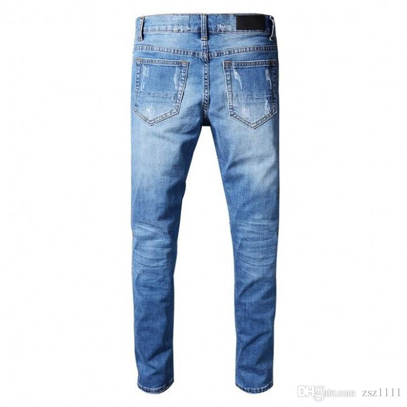 Men's brand jeans motorcycle for men tight denim Jeans high fashion designer famous paint ripped jeans pants