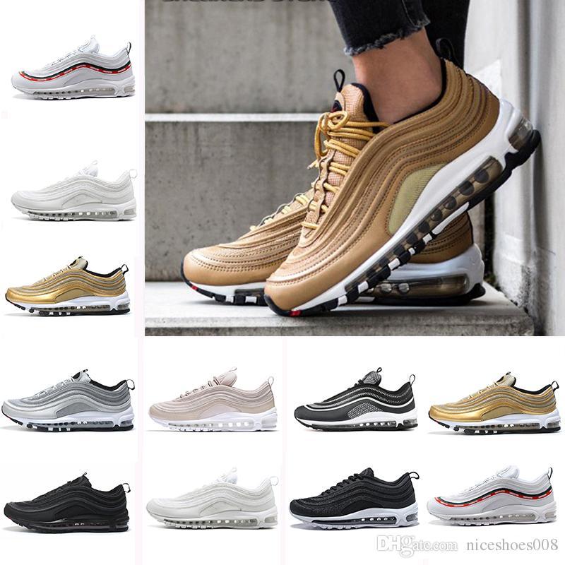 nike air max airmax 97 chaussures Triple blanc noir hommes Chaussures de course OG QS PRM Métallique Or Argent Bullet formateur Femmes sport