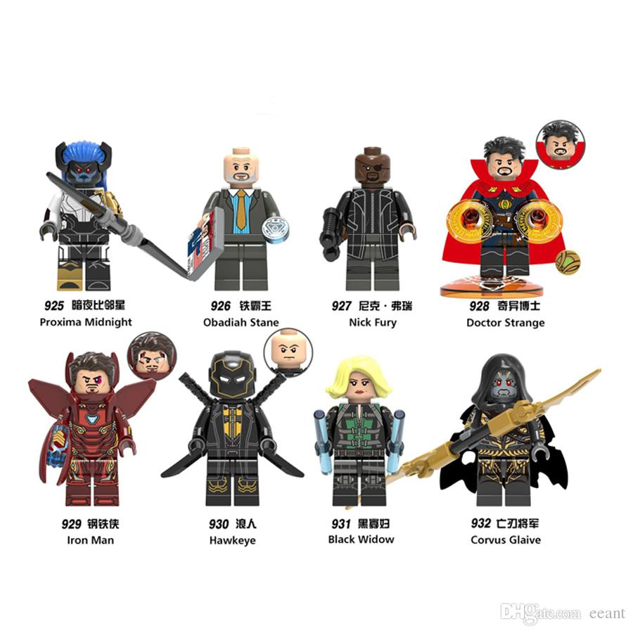 Minifig Super Heroes Avengers Iron Man Hawkeye Proxima Midnight Mini Figures Building Blocks Kid Toys Freeshipping