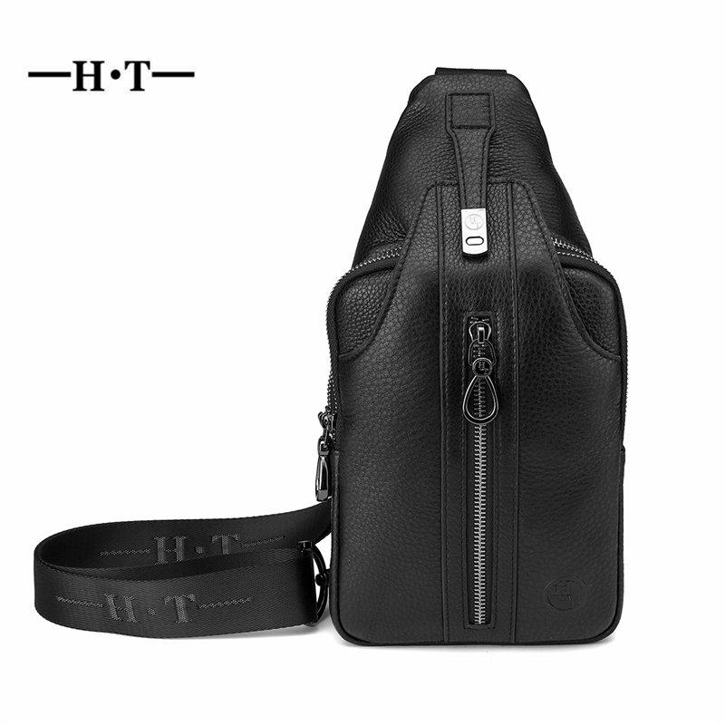c01cd0784967 HT Cowhide Leather Chest Bag Men Crossbody Bags Black Messenger Bag Genuine  Leather Chest Pack Travelling Letter Printed Packs Lunch Bags For Women  Cool ...