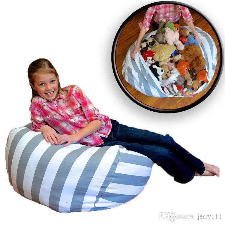 Stripe Bean Bag 18 pulgadas Chair Kids Bedroom Muñecas de peluche Organizador Felpa Juguetes Bolsas Baby Play Mat Bolsa de almacenamiento de ropa portátil LC669
