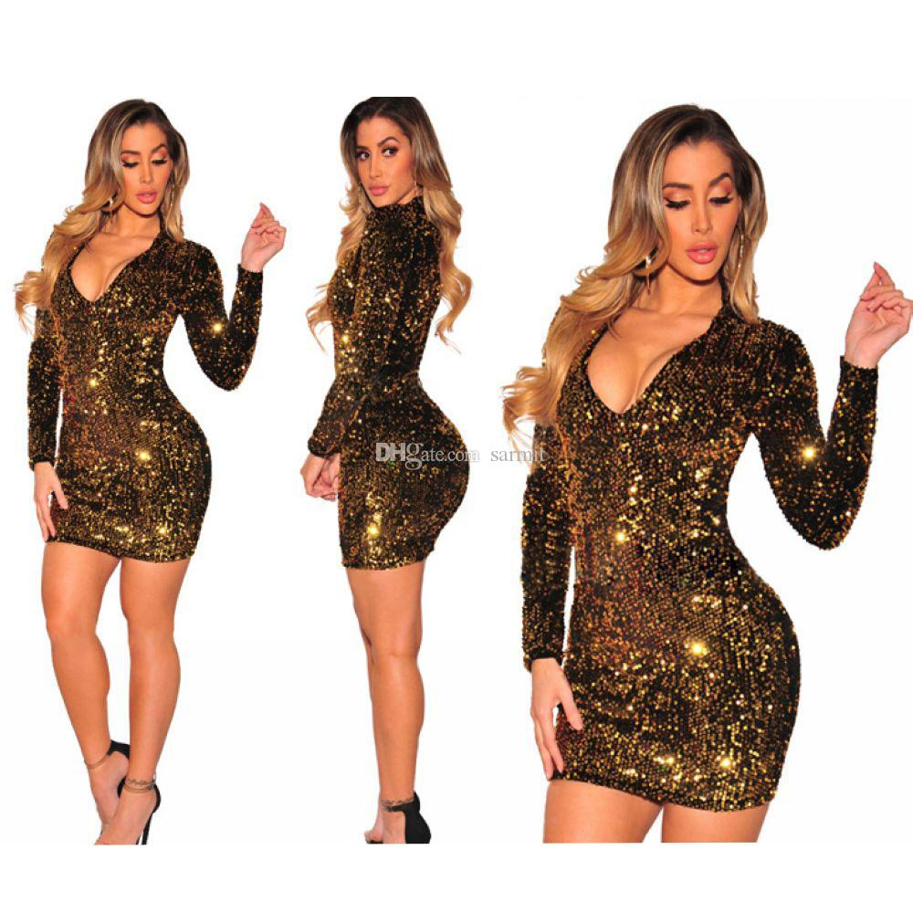 Sexy Party Dresses Night Club Dress Summer Women 2018 CHEAPEST Bodycon Dress F522 with Sleeves Shinning Sequins Gold Green