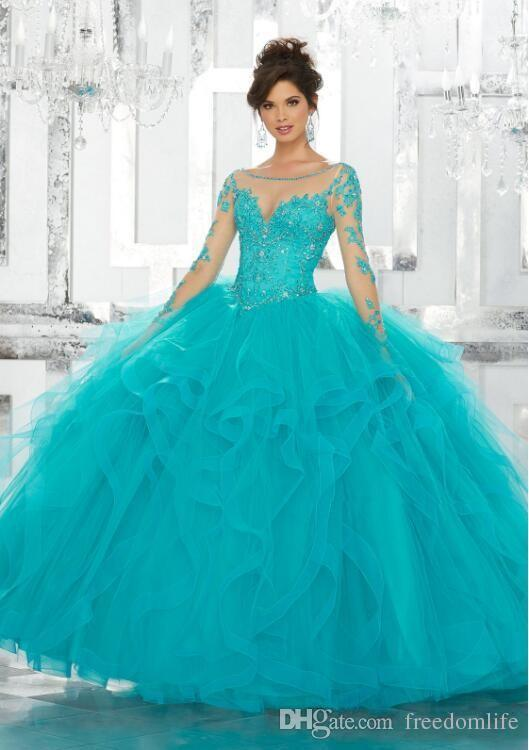 b193a815a0 Vintage Quinceanera Dresses Lace Applique Sequins Long Sleeve Blue Ball Gown  Tulle Plus Size Sweet 15 Gowns Aqua Quinceanera Dresses Ball Gowns Cheap  From ...