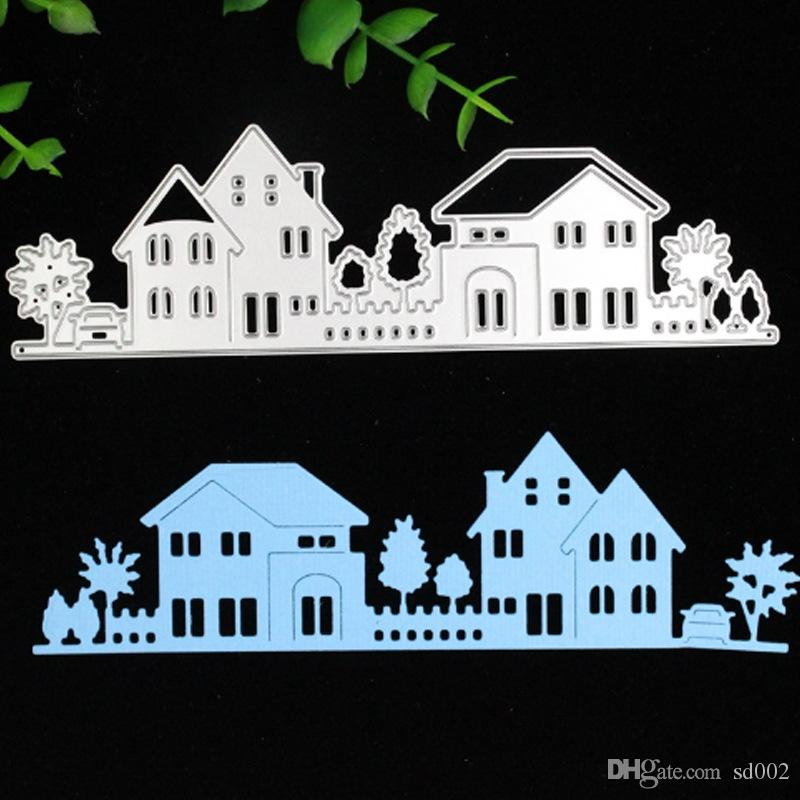 Carbon Steel Cutting Die Country House Shape Scrapbook DIY Mold Photo Album Card Making Tool For Child 7sx BB