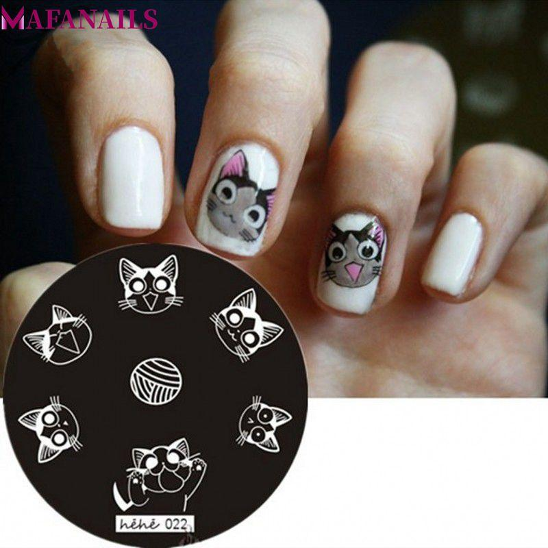 Animal Pattern Round Nail Art Stencil Flower Butterfly Image Nail