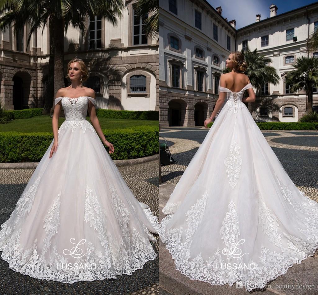 2018 Spring Vintage Lussano Wedding Dresses Lace Off Shoulders ...