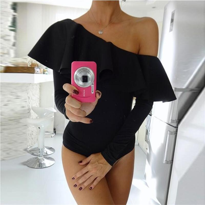 Women Summer Fashion Ruffles One Off Shoulder Sexy Bodycon Bodysuits Ukraine Girl Jumpsuit Romper Beach Jumpsuit Shorts Playsuit