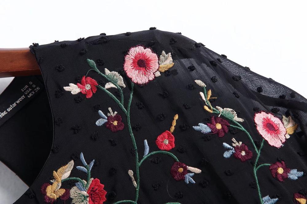 Cheshan Lose Schwarz Floral Chiffon Stickerei Playsuits Frauen 2018 Gestickte Backless Sommer Kurze Overall Aushöhlen Neu
