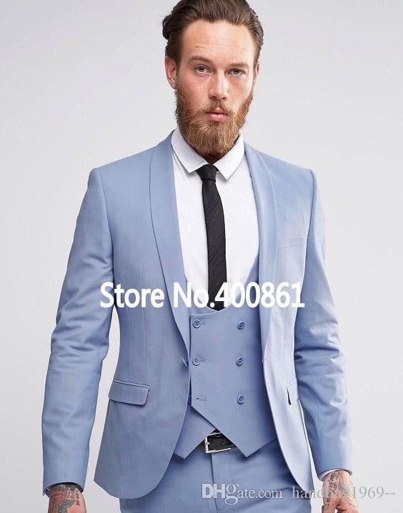 fb0d2750a7 Compre Estilo Clásico Un Botón Esmoquin Azul Novio Esmoquin Chal De Solapa  Padrinos De Boda Mejor Hombre Blazer Trajes De Boda Para Hombre Chaqueta +  ...