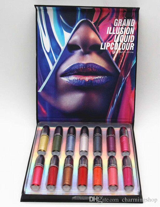 Famous Brand New Grand Illusion Liquid Lip colour lip gloss lipstick set Pigment Long Lasting Easy to Wear Makeup Matte