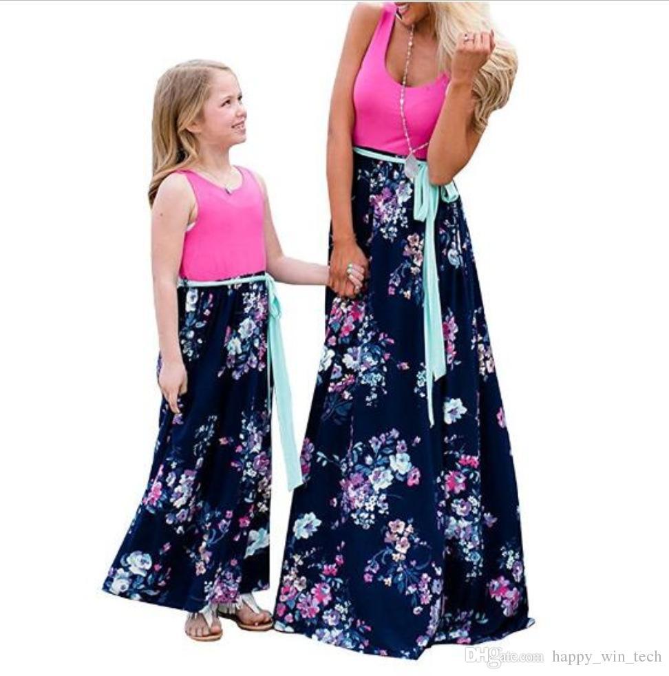 19d0a55f0c3 Acheter Robe Longue Femme Sans Manches Licou Col En V Imprimé Floral Pur  Coton Beach Evening Party Maxi Mère Fille Robe Parent Enfants De  16.08 Du  ...