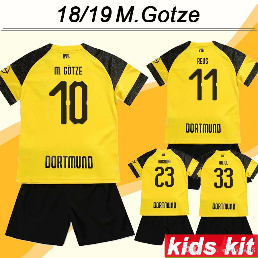 01518294b 2019 2018 19 M.GOTZE REUS Kids Kid Soccer Jerseys KAGAWA PISZCZEK Child Home  Football Shirts PULISIC SCHMELZER WEIGL SERGIO GOMEZ Short Uniforms From ...