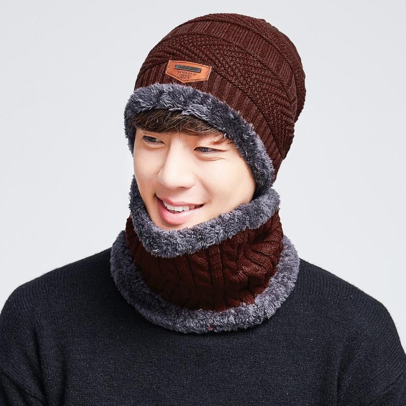 купить оптом 2018 мужские теплые зимние шапки вязаная шапка шарф