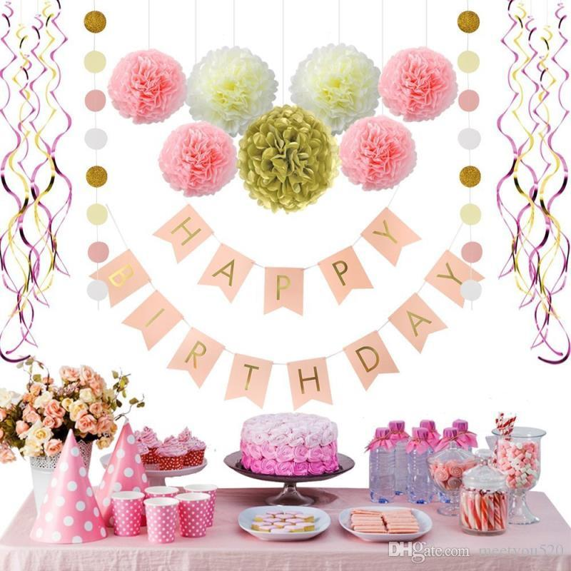Pink And Gold Birthday Decorations Pom Poms Flowers Kit Happy BannerPaper GarlandHanging Swirl For 1st Girl Decoration Army Party