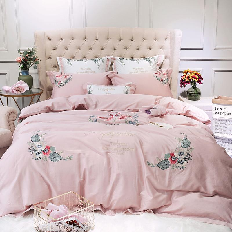 Egyptian Cotton Bedsheet Set Quilt Duvet Cover Bed Set Pillowcase Exquisite Embroidery Luxury Bedding Queen King Size 4piece