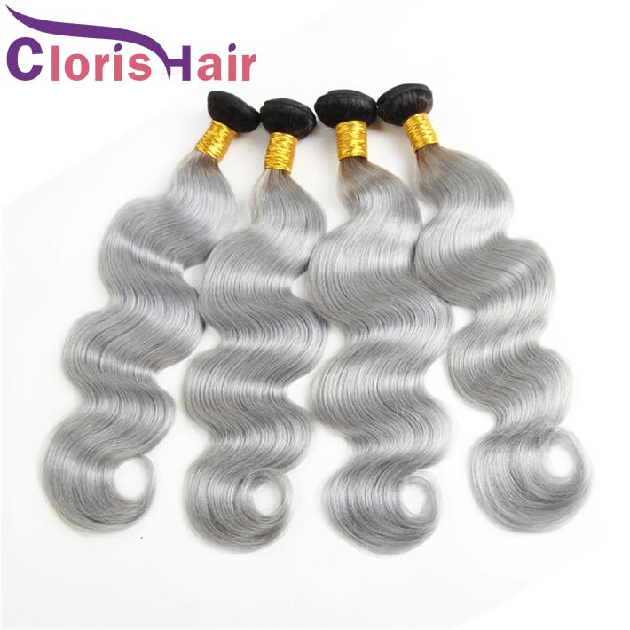 Raw Indian Virgin Ombre Human Hair Bundle Dark Root Gray Body Wave Hair Weaves Cheap Two Tone 1B Grey Ombre Hair Extensions For Sale