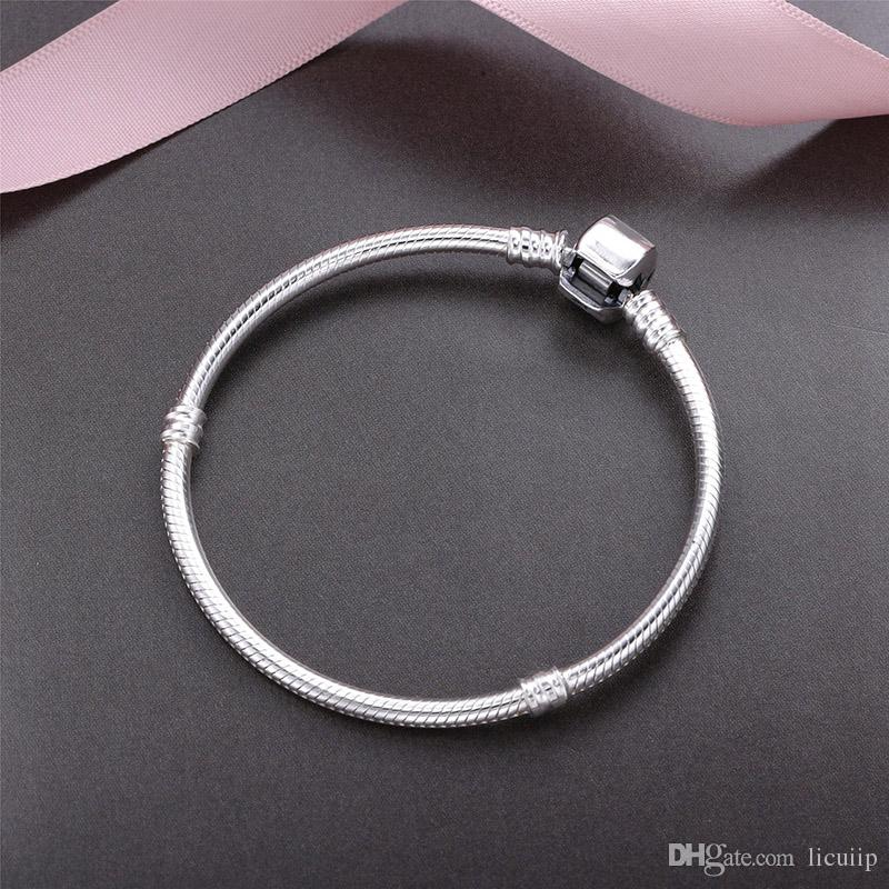 100% Real 925 Sterling Silver Bracelets 3mm Snake Chain Fit Pandora Charm Bead Bangle Bracelet DIY Jewelry Gift For Men Women with box
