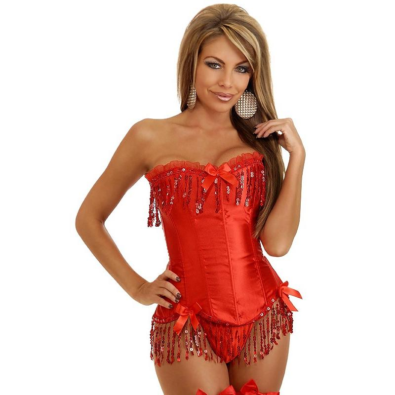 61aa13e8b5 2019 Sequin Corsets Bustiers Top Set Women Sexy Bustiers Steampunk Corselet  Modeling Strap Plus Size Lady Red Costume Lingerie From Avive