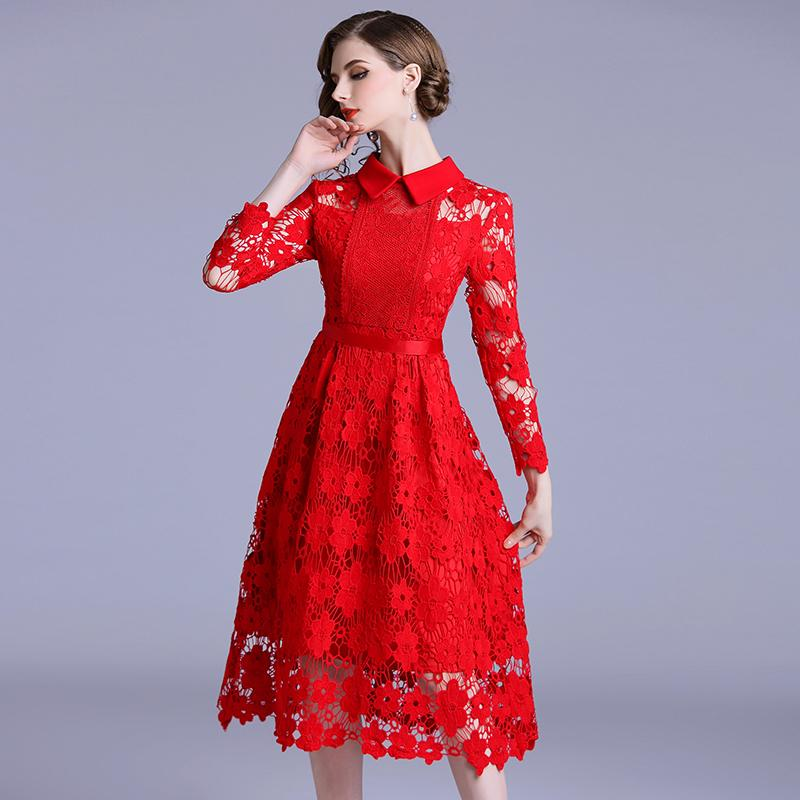 0c5b538f94 High Quality Fashion Designer Runway Dress 2018 Autumn Women s Hollow-out  tassel lace patchwork water-soluble lace dress