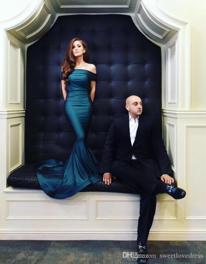 2018 Geogrous Kapalı Omuz Mermaid Abiye Kolsuz Uzun Örgün Parti Elbise Custom Made Vestido Ile