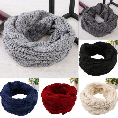 2019 Women Men Thermal Scarf Poncho Winter Warm 2 Circle Cable Knit