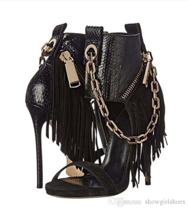 Catene stile punk Scarpe con tacco alto Scarpe con cinturino alla caviglia estate Sandali gladiatore sexy Scarpe con tacco a spillo donna Décolleté