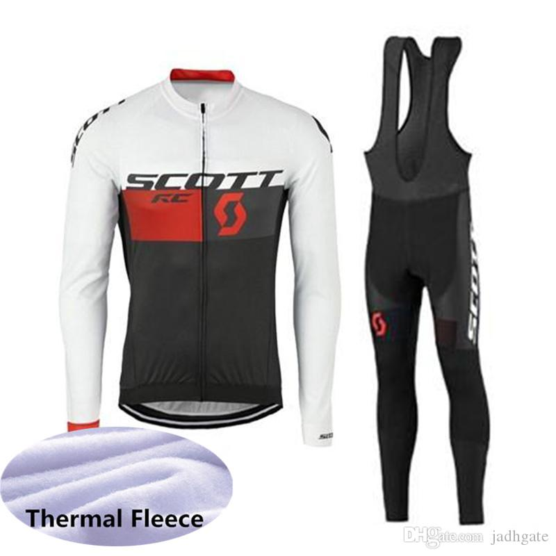 SCOTT team Cycling Winter Thermal Fleece jersey bib pants sets Bike Clothing Quick-Dry Bicycle Sportwear Ropa Ciclismo U41822