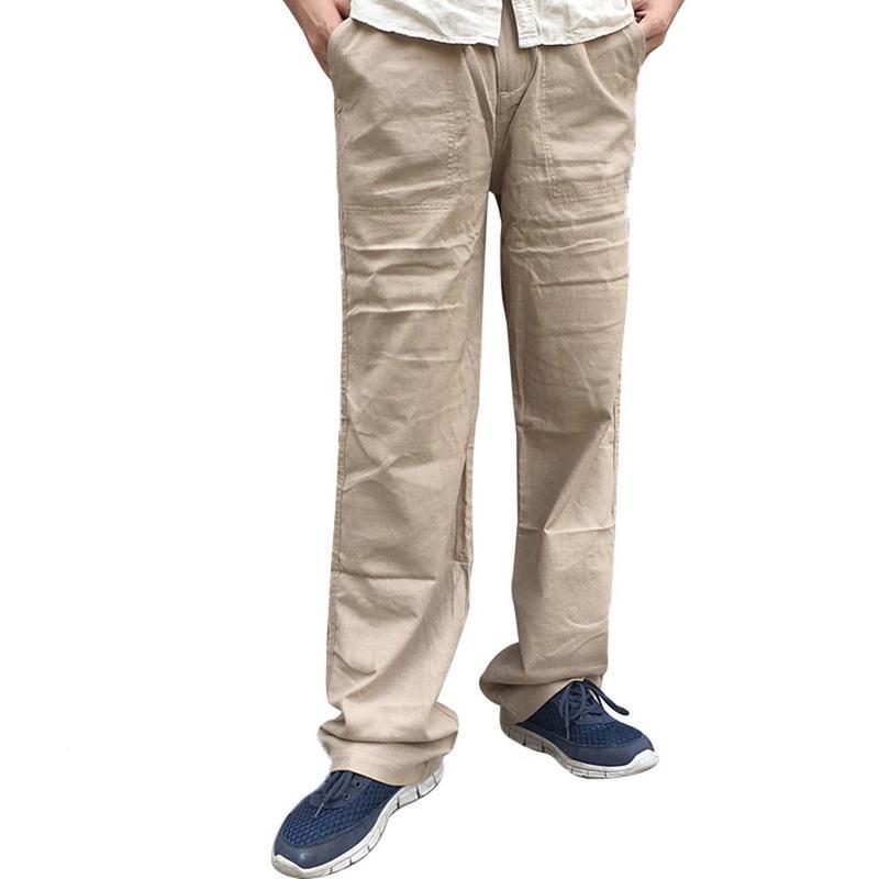 miglior sito web f7a2c fadba LAAMEI 2018 Nuovi pantaloni di lino fluidi estivi maschili allentati  casuali sottili sottili solidi pantaloni di lino Quick Dry pantaloni più  grandi ...