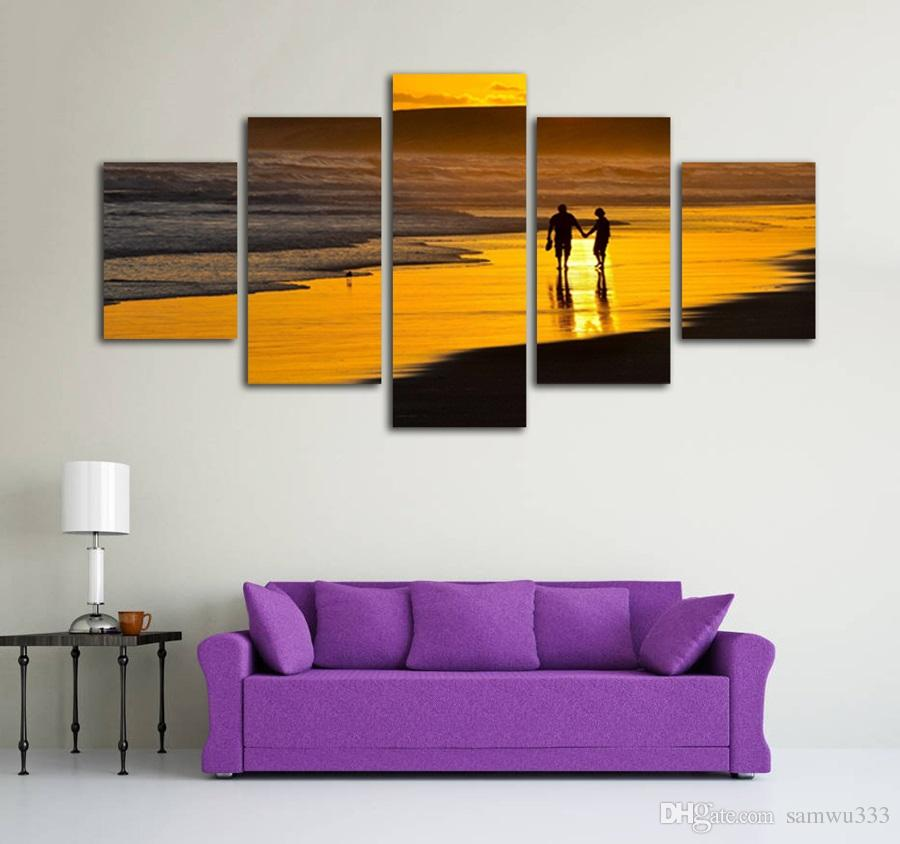 3eee1ff62f6 2019 Unframed 5 Panels Canvas Picture Print Romantic Couple Walk On The  Beach At Sunset Landscape Painting For Living Room Home Decor From  Samwu333