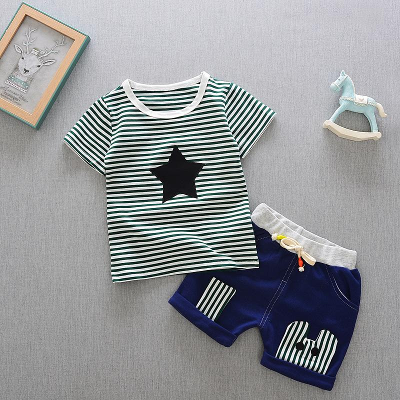 f8093b9544d Fashion 2018 Children Boys Girls Tracksuits Baby Striped T-shirt ...