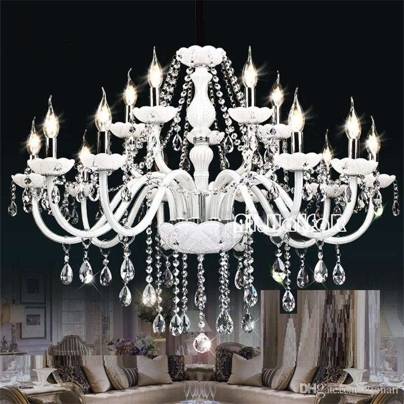 Modern White Crystal Chandelier Lights Lamp Chandeliers For Bedroom ...
