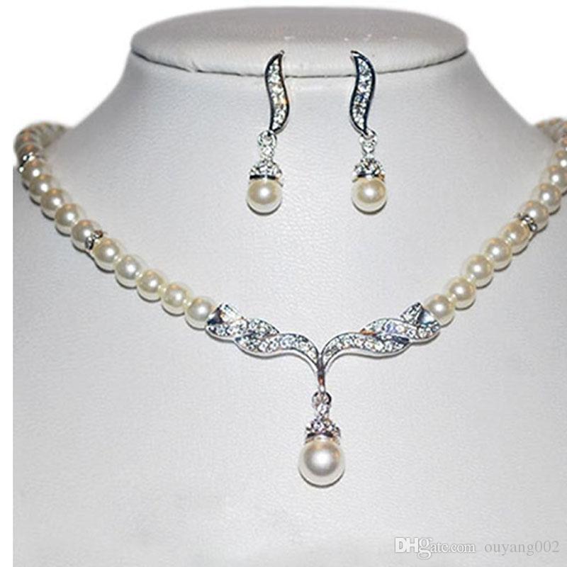 Women's Party Wedding Jewellery Sets Fashion Angel Wings Faux Pearls Bride Earrings & Necklace
