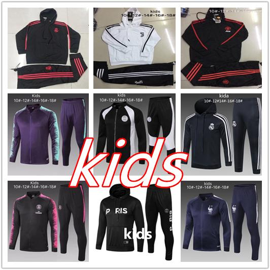 02d66f55354 Hooded Kids Juventus Soccer Jacket 2018 2019 Real Madrid Kids ...