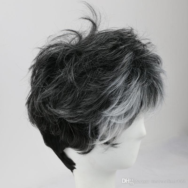 Capless Short Ombre Wig with Bangs Wavy Synthetic Wig for Black Men Women Daily Costume Wigs and Cap African American Wigs