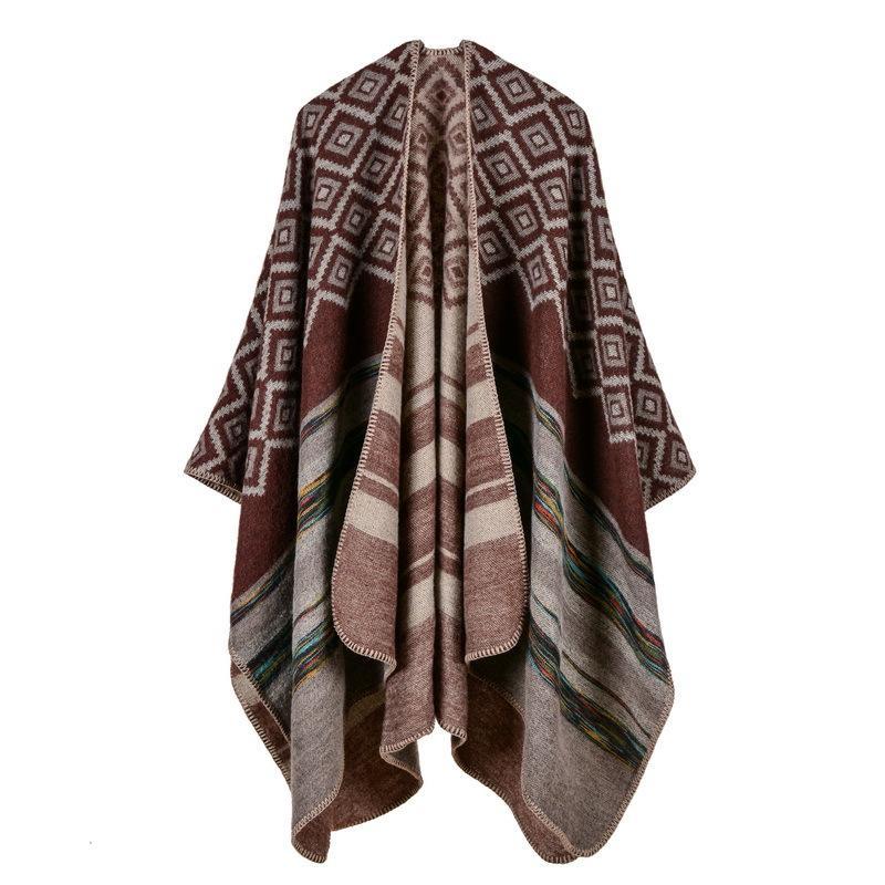 2017 Марка женщины пончо и накидки кашемировый шарф толстый теплый зимний шарф одеяло вязать леди пашмины палантины