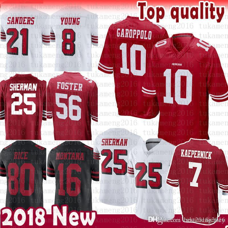 4ed5843e6 2018 San Francisco 49ers 7 Colin Kaepernick Richard Sherman 10 Jimmy  Garoppolo Jersey 56 Reuben Foster 16 Joe Montana 80 Rice Sanders McGlinchey  From ...