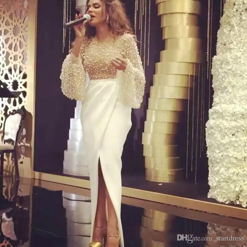 Unique Ivory Jewel Illusion Corset Pearls Evening Gowns Sexy Front Slit Arabic Long Sleeve Beaded Prom Dresses celebrity Formal Party Skirt