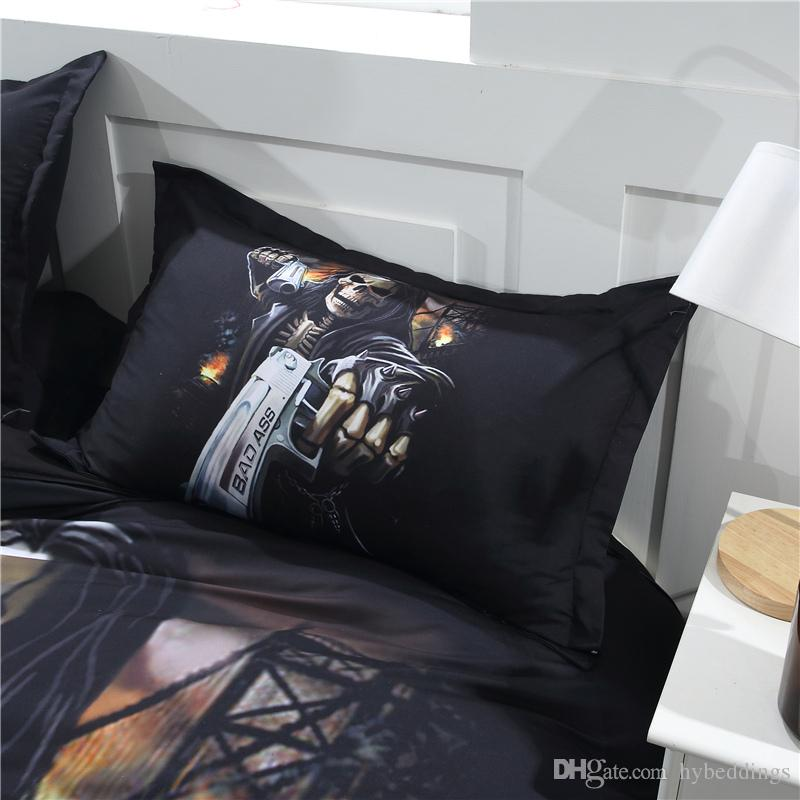 3D Hell Killer Skull with Gun Bedding Set Halloween Black Skull Design Duvet Cover set Bedsheet Pillowcases Queen King Size bed linen